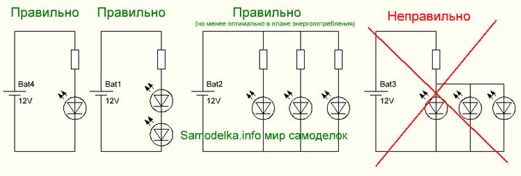 светодиодов с резисторами
