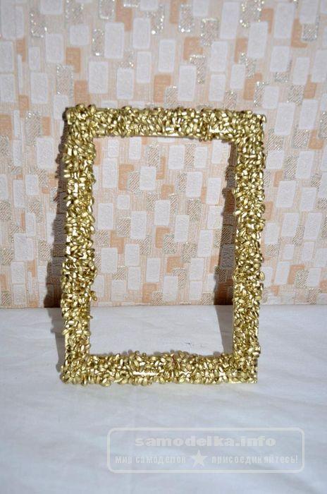 Золотая фоторамка сделанная своими руками