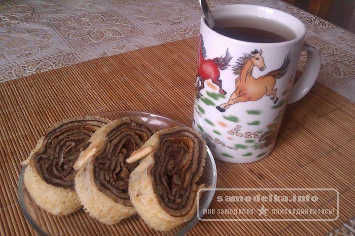 десерт - рулет из блинов