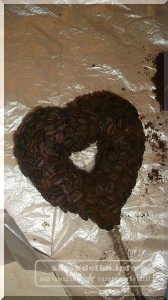 Сердечко из кофееных зерен
