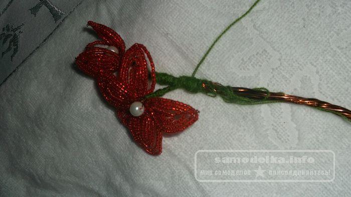 Орхидея - бисероплетение цветов мастер класс шаг №4 делаем ствол