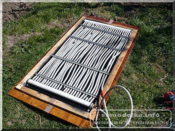 конструкция самодельного  солнечного нагревателя из гофрированных труб