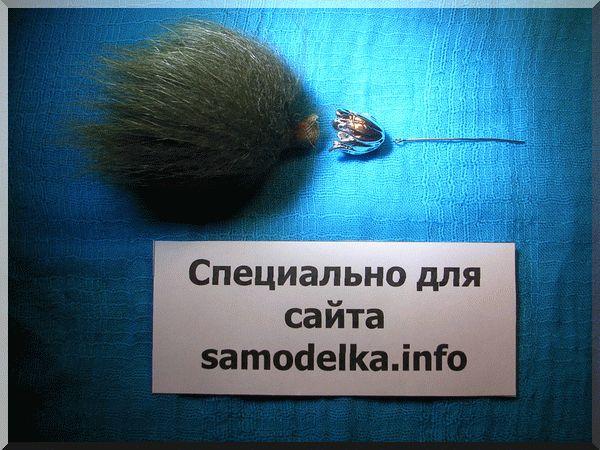мех на штифте сережки