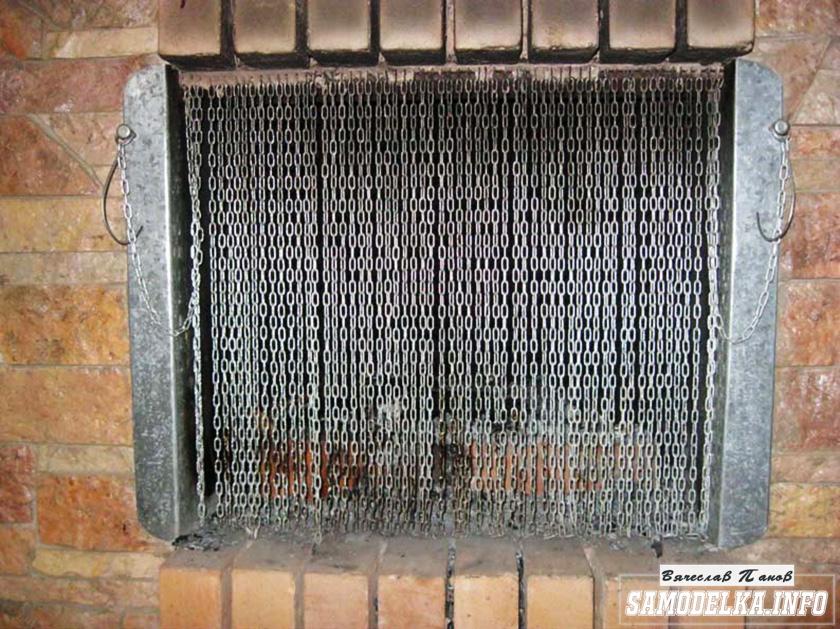 Дверца камина из цепочек