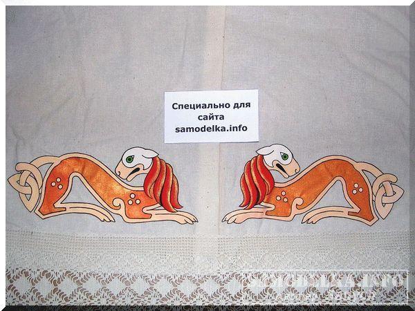 роспись акрилом подола платья
