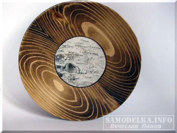 Самодельная деревянная тарелка