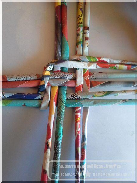 фото крупным планом: изгиб при плетении дна корзинки своими руками