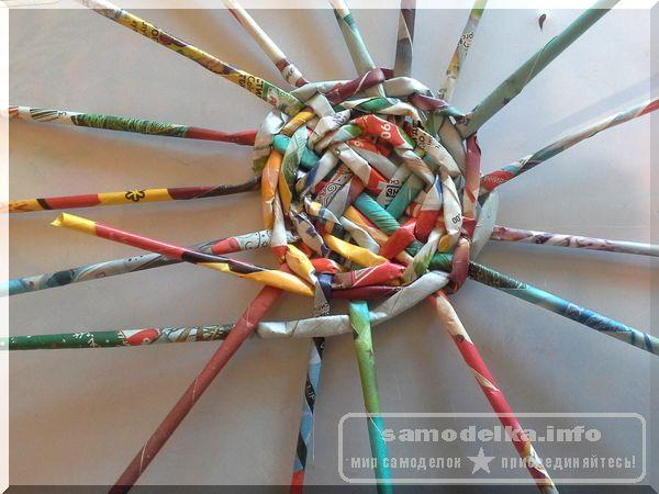 раздвигаем равномерно все трубочки и переплетаем каждую при газетном плетении корзинки своими руками