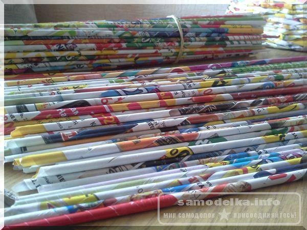 готовые газетные (журнальные) трубочки для плетения корзинки своими руками