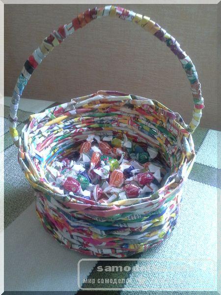 корзинка плетеная из газетных трубочек своими руками