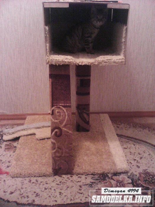самодельный домик для кота с когтеточкой