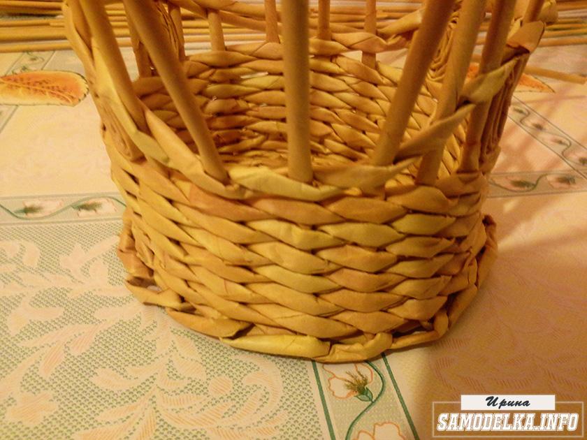 плетение корзинки газетными трубочками