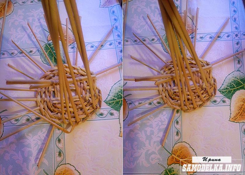 плетение канта днища корзинки из газетных трубочек
