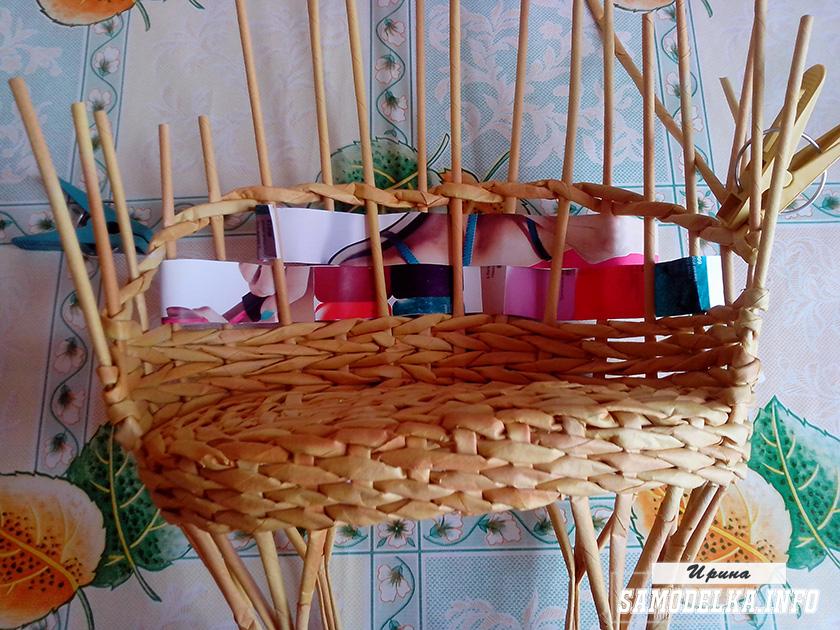 плетение дивана из газетных трубочек