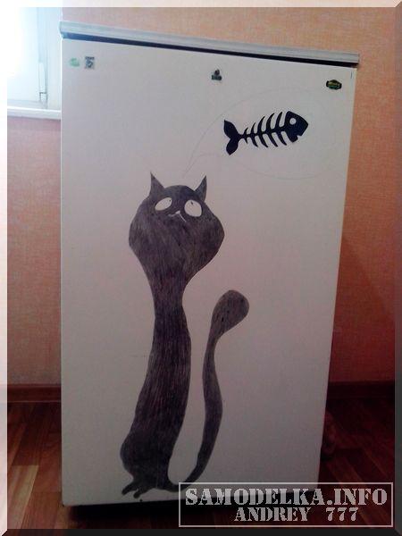 кот на холодильнике своими руками