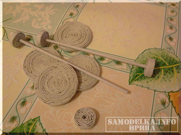 изготовление колес для авто из газетных трубочек