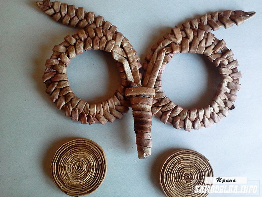 Сова-ключница из газетных трубочек своими руками