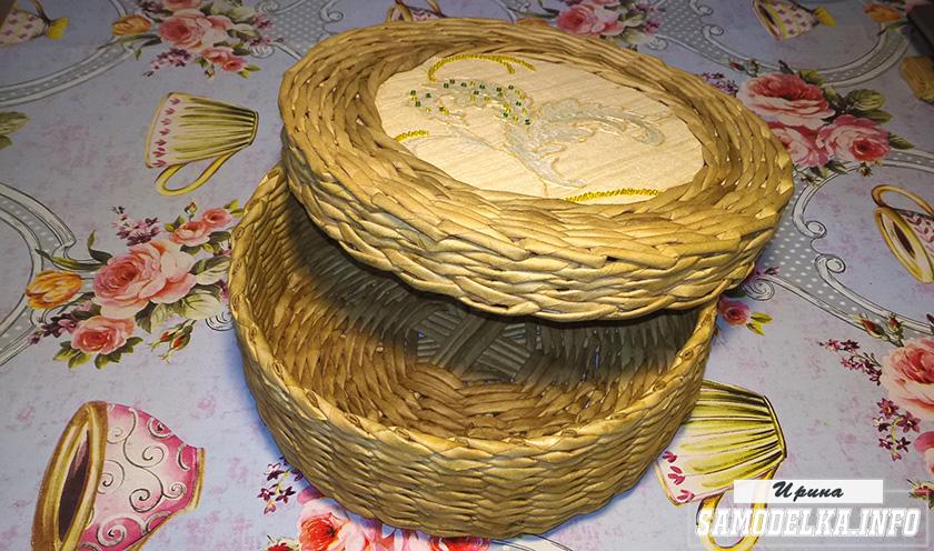 Плетение шкатулки из газетных трубочек своими руками