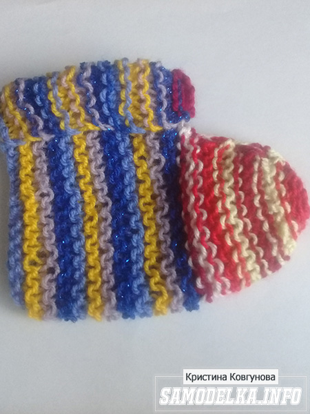 Процесс вязания пинеток спицами
