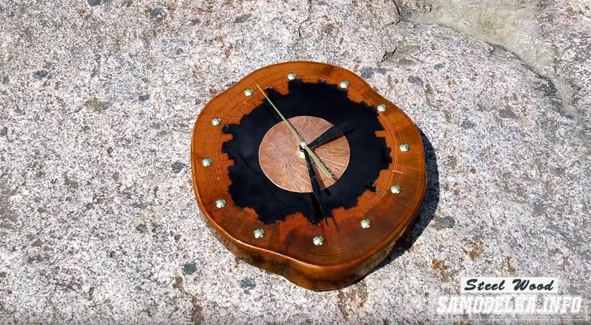 Настенные часы из эпоксидной смолы и дерева своими руками