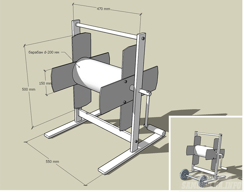 Схема самодельной катушки для поливочного шланга